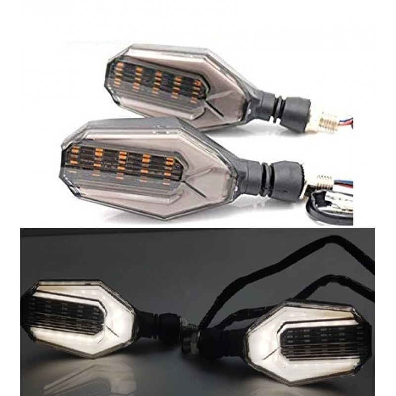 Bike Indicator Lava Style U Shape With White DRL Light 2 Pcs