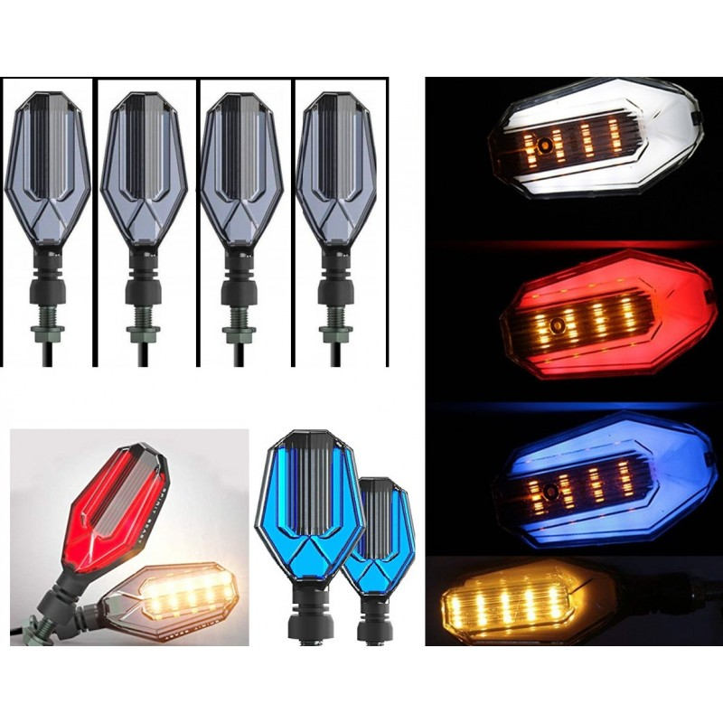 Bike Indicator Multi Color Lava Style U Shape With DRL Light 2 Pcs