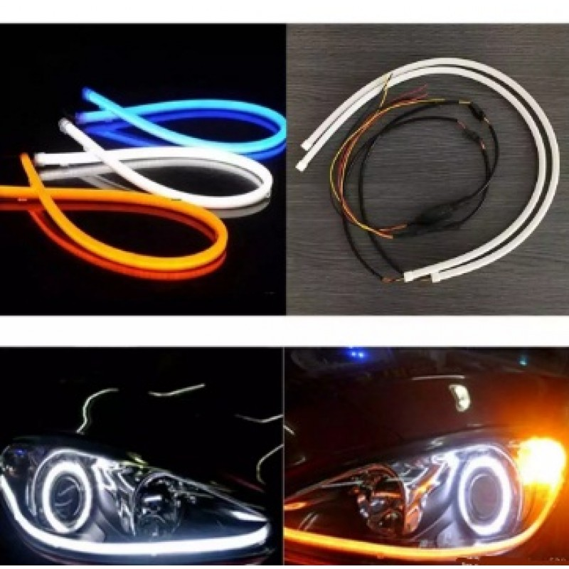 Flexible Headlight DRL Light Water Proof With Running Indicator 2 pcs