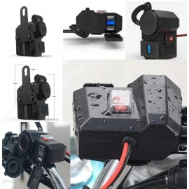 Motorcycle Scooter 12V USB Cigarette Lighter Power With Dual Port  Usb Mobile Charger With On Off Switch