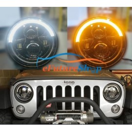 "Universal 7"" Round Half Cut LED Headlights for Jeep Car & Bike"